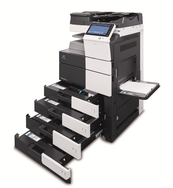 bizhub 454e with open paper trays 150078150dpi